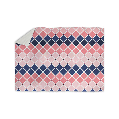 "afe images ""Diamond Tiles"" Pink Blue Diamond Pattern Illustration Digital Sherpa Blanket"