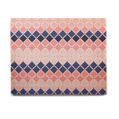 "afe images ""Diamond Tiles"" Pink Blue Diamond Pattern Illustration Digital Birchwood Wall Art"