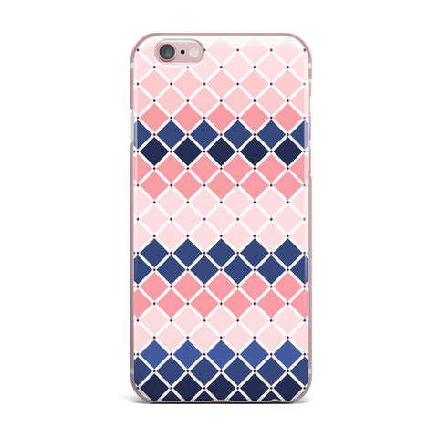 "afe images ""Diamond Tiles"" Pink Blue Diamond Pattern Illustration Digital iPhone Case"