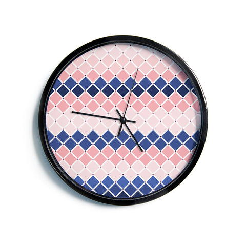 "afe images ""Diamond Tiles"" Pink Blue Diamond Pattern Illustration Digital Modern Wall Clock"