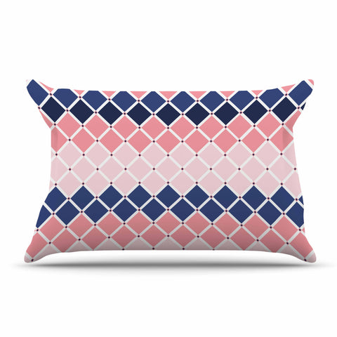 "afe images ""Diamond Tiles"" Pink Blue Diamond Pattern Illustration Digital Pillow Sham"