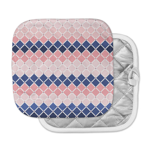 "afe images ""Diamond Tiles"" Pink Blue Diamond Pattern Illustration Digital Pot Holder"