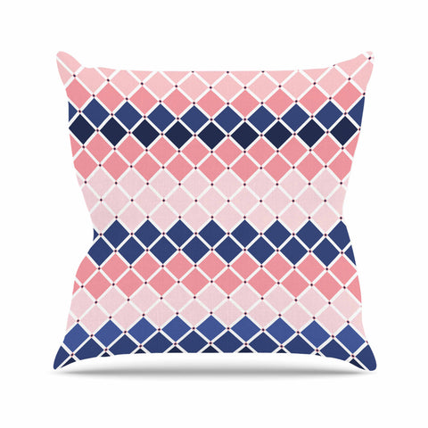"afe images ""Diamond Tiles"" Pink Blue Diamond Pattern Illustration Digital Outdoor Throw Pillow"