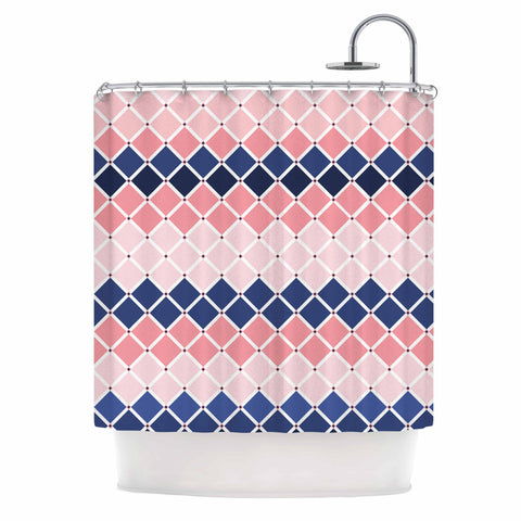 "afe images ""Diamond Tiles"" Pink Blue Diamond Pattern Illustration Digital Shower Curtain"