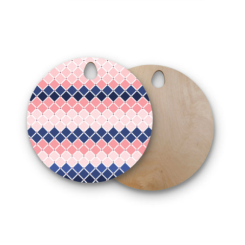 "afe images ""Diamond Tiles"" Pink Blue Diamond Pattern Illustration Digital Round Wooden Cutting Board"