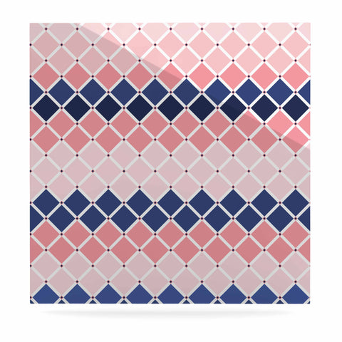 "afe images ""Diamond Tiles"" Pink Blue Diamond Pattern Illustration Digital Luxe Square Panel"
