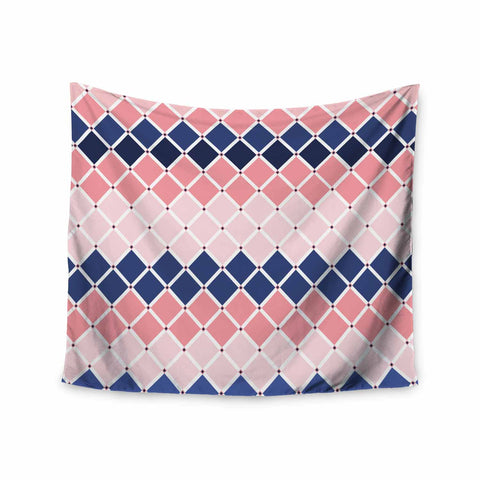 "afe images ""Diamond Tiles"" Pink Blue Diamond Pattern Illustration Digital Wall Tapestry"