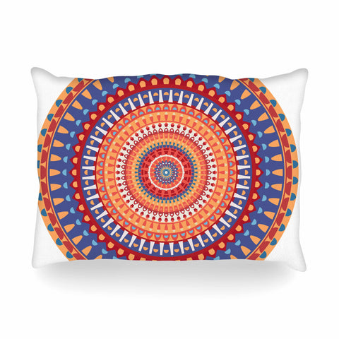 "afe images ""AFE Mandala4"" Multicolor Ethnic Abstract Illustration Digital Oblong Pillow"