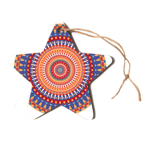 "afe images ""AFE Mandala4"" Multicolor Ethnic Abstract Illustration Digital Star Holiday Ornament"