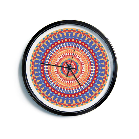 "afe images ""AFE Mandala4"" Multicolor Ethnic Abstract Illustration Digital Modern Wall Clock"