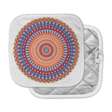 "afe images ""AFE Mandala4"" Multicolor Ethnic Abstract Illustration Digital Pot Holder"