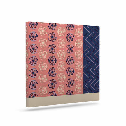 "afe images ""AFE Geometric Abstract"" Blue Coral Abstract Pattern Digital Illustration Art Canvas"