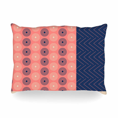 "afe images ""AFE Geometric Abstract"" Blue Coral Abstract Pattern Digital Illustration Oblong Pillow"
