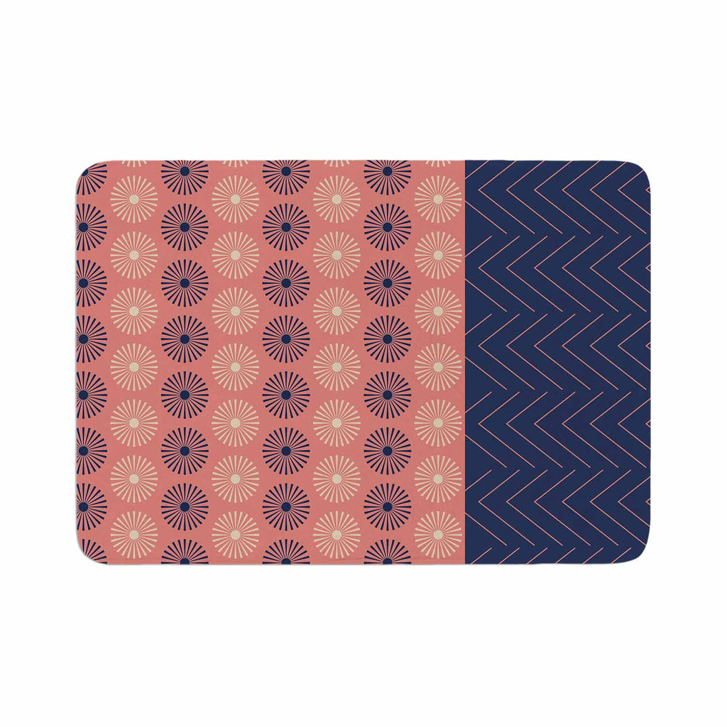 "afe images ""AFE Geometric Abstract"" Blue Coral Abstract Pattern Digital Illustration Memory Foam Bath Mat"