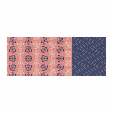 "afe images ""AFE Geometric Abstract"" Blue Coral Abstract Pattern Digital Illustration Bed Runner"