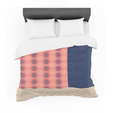"afe images ""AFE Geometric Abstract"" Blue Coral Abstract Pattern Digital Illustration Featherweight Duvet Cover"