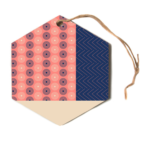 "afe images ""AFE Geometric Abstract"" Blue Coral Abstract Pattern Digital Illustration Hexagon Holiday Ornament"