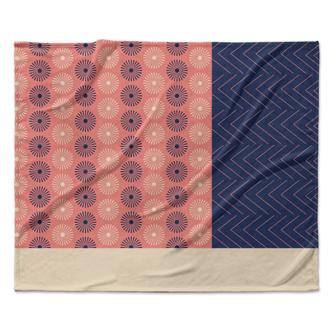 "afe images ""AFE Geometric Abstract"" Blue Coral Abstract Pattern Digital Illustration Fleece Throw Blanket"
