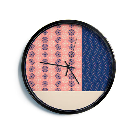 "afe images ""AFE Geometric Abstract"" Blue Coral Abstract Pattern Digital Illustration Modern Wall Clock"