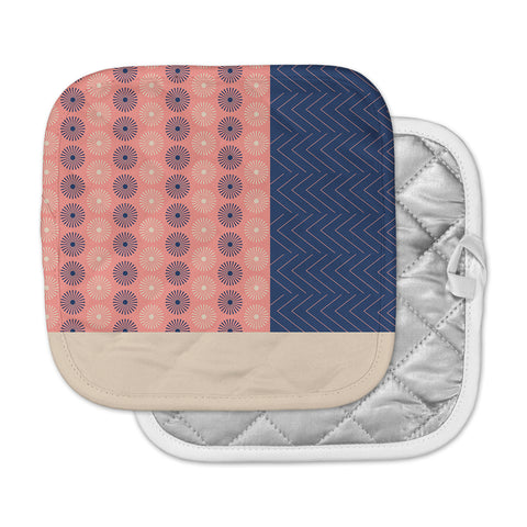 "afe images ""AFE Geometric Abstract"" Blue Coral Abstract Pattern Digital Illustration Pot Holder"