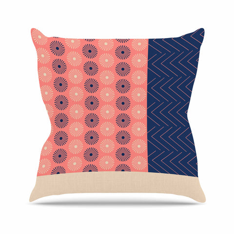 "afe images ""AFE Geometric Abstract"" Blue Coral Abstract Pattern Digital Illustration Outdoor Throw Pillow"