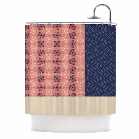 "afe images ""AFE Geometric Abstract"" Blue Coral Abstract Pattern Digital Illustration Shower Curtain"