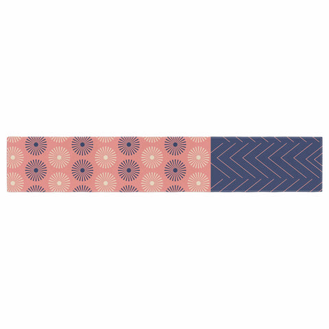 "afe images ""AFE Geometric Abstract"" Blue Coral Abstract Pattern Digital Illustration Table Runner"
