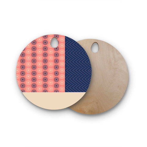 "afe images ""AFE Geometric Abstract"" Blue Coral Abstract Pattern Digital Illustration Round Wooden Cutting Board"