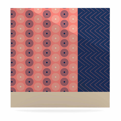 "afe images ""AFE Geometric Abstract"" Blue Coral Abstract Pattern Digital Illustration Luxe Square Panel"