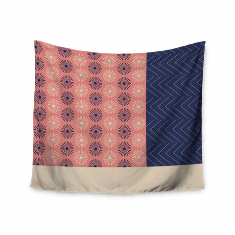 "afe images ""AFE Geometric Abstract"" Blue Coral Abstract Pattern Digital Illustration Wall Tapestry"