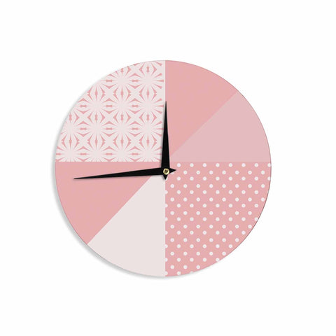 "afe images ""AFE Abstract2"" Coral Pink Abstract Pattern Digital Illustration Wall Clock"