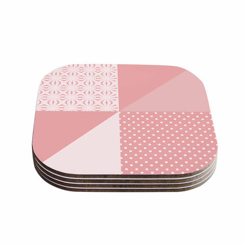 "afe images ""AFE Abstract2"" Coral Pink Abstract Pattern Digital Illustration Coasters (Set of 4)"