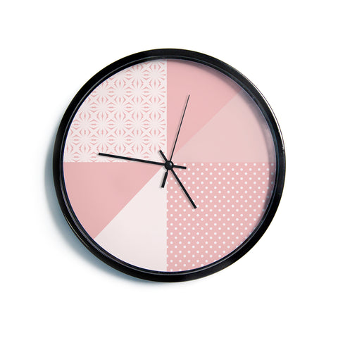 "afe images ""AFE Abstract2"" Coral Pink Abstract Pattern Digital Illustration Modern Wall Clock"