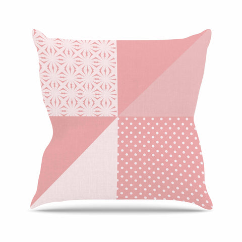 "afe images ""AFE Abstract2"" Coral Pink Abstract Pattern Digital Illustration Outdoor Throw Pillow"