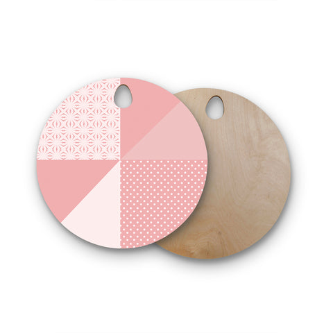 "afe images ""AFE Abstract2"" Coral Pink Abstract Pattern Digital Illustration Round Wooden Cutting Board"