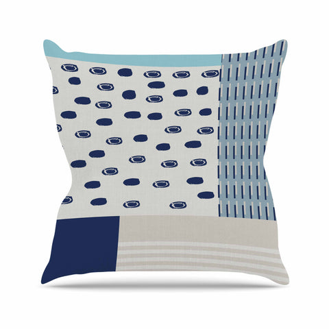 "afe images ""AFE Abstract4"" Blue Beige Abstract Modern Digital Illustration Throw Pillow"