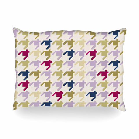 "afe images ""AFE Houndstooth Pattern"" Multicolor Houndstooth Pattern Digital Illustration Oblong Pillow"