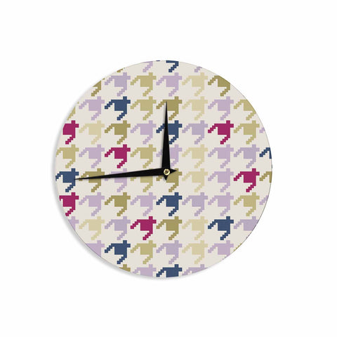 "afe images ""AFE Houndstooth Pattern"" Multicolor Houndstooth Pattern Digital Illustration Wall Clock"