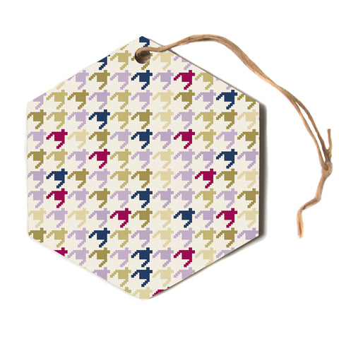 "afe images ""AFE Houndstooth Pattern"" Multicolor Houndstooth Pattern Digital Illustration Hexagon Holiday Ornament"