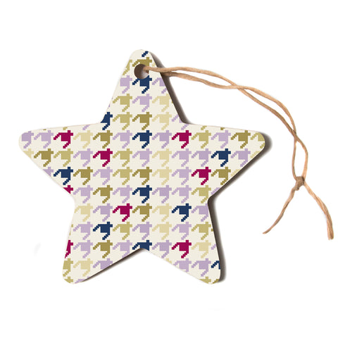 "afe images ""AFE Houndstooth Pattern"" Multicolor Houndstooth Pattern Digital Illustration Star Holiday Ornament"