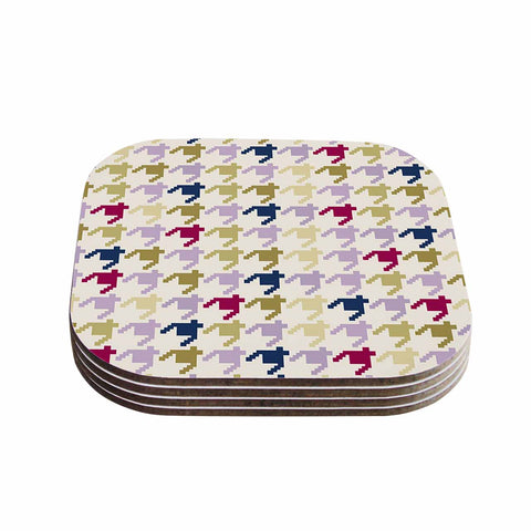 "afe images ""AFE Houndstooth Pattern"" Multicolor Houndstooth Pattern Digital Illustration Coasters (Set of 4)"