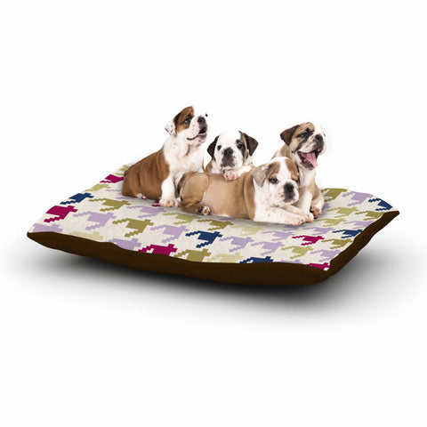 "afe images ""AFE Houndstooth Pattern"" Multicolor Houndstooth Pattern Digital Illustration Dog Bed"