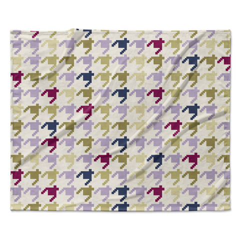 "afe images ""AFE Houndstooth Pattern"" Multicolor Houndstooth Pattern Digital Illustration Fleece Throw Blanket"