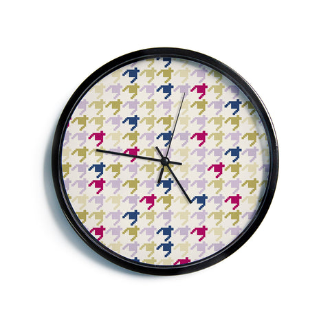 "afe images ""AFE Houndstooth Pattern"" Multicolor Houndstooth Pattern Digital Illustration Modern Wall Clock"