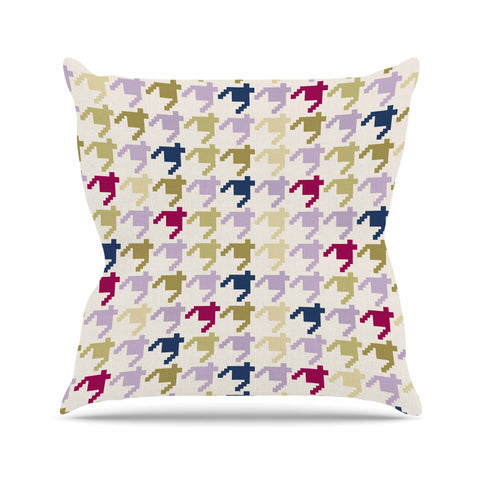 "afe images ""AFE Houndstooth Pattern"" Multicolor Houndstooth Pattern Digital Illustration Outdoor Throw Pillow"