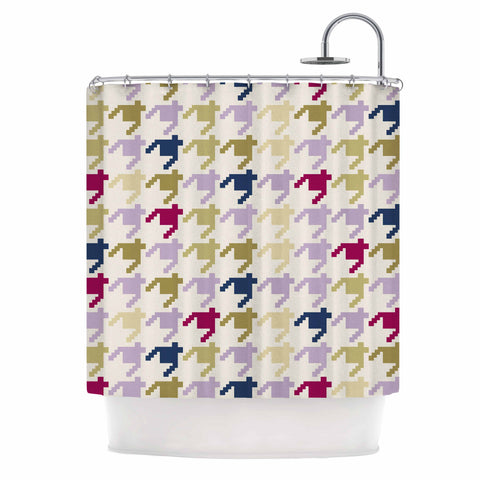 "afe images ""AFE Houndstooth Pattern"" Multicolor Houndstooth Pattern Digital Illustration Shower Curtain"