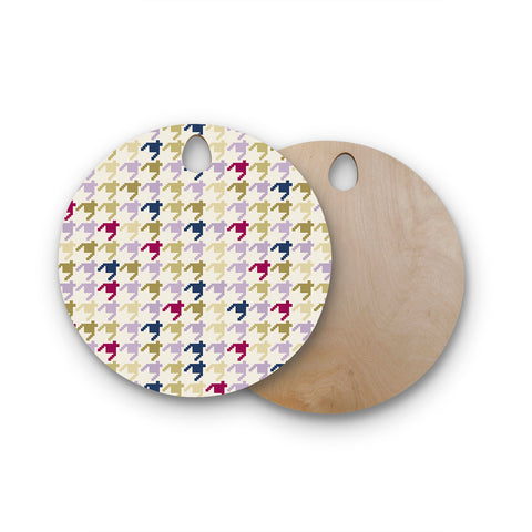 "afe images ""AFE Houndstooth Pattern"" Multicolor Houndstooth Pattern Digital Illustration Round Wooden Cutting Board"