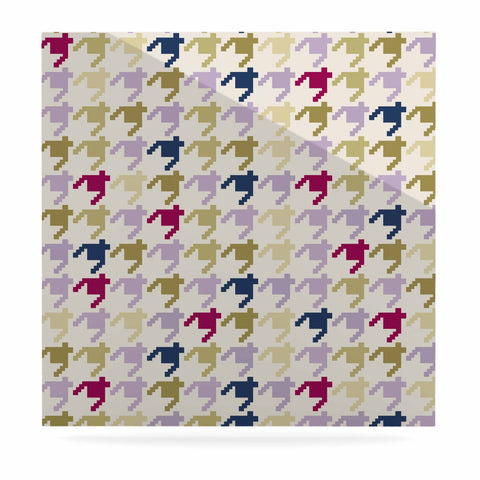 "afe images ""AFE Houndstooth Pattern"" Multicolor Houndstooth Pattern Digital Illustration Luxe Square Panel"