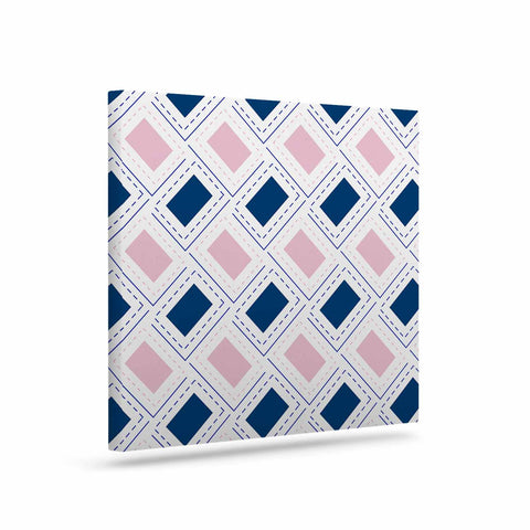 "afe images ""AFE Pink And Blue Pattern"" Blue Pink Geometric Pattern Digital Illustration Art Canvas"