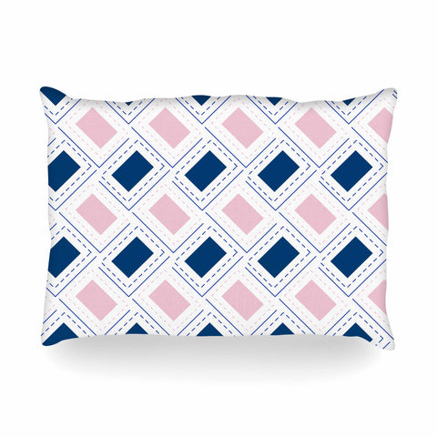 "afe images ""AFE Pink And Blue Pattern"" Blue Pink Geometric Pattern Digital Illustration Oblong Pillow"